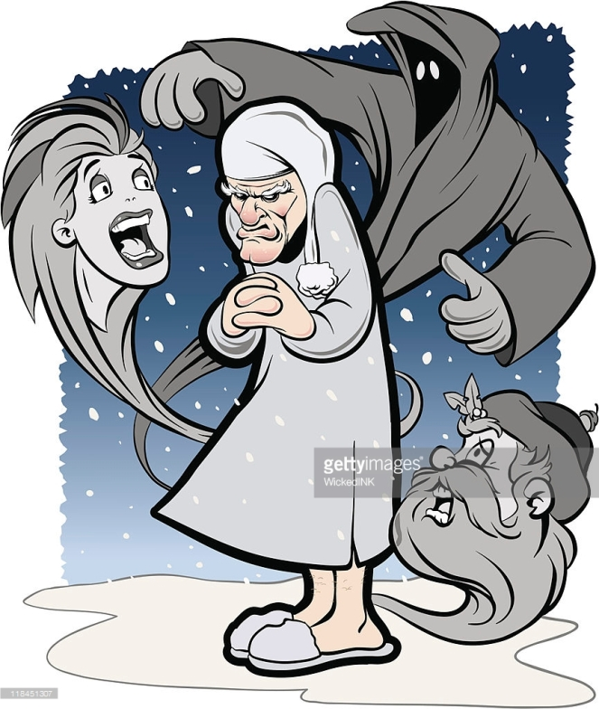scrooge-with-ghosts-vector-id118451307